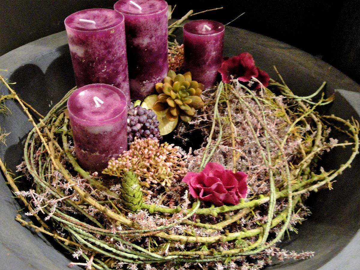Moderner Adventskranz Pink Blumen Ballenberger Das